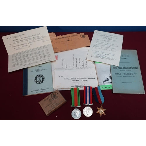 203 - World War group of medals comprising of 39 - 45 Star War and Defence medal in original postage box, ...