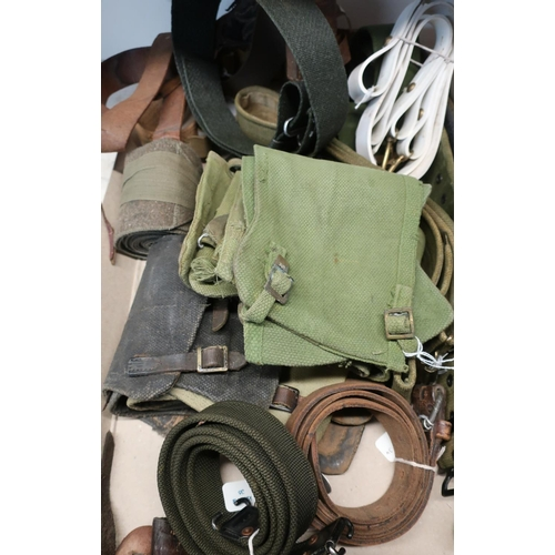 213 - Quantity of various assorted military and other belts, gators/puttees, etc...