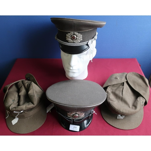 215 - Two German postwar military officers peaked caps, and two ski caps (4)...
