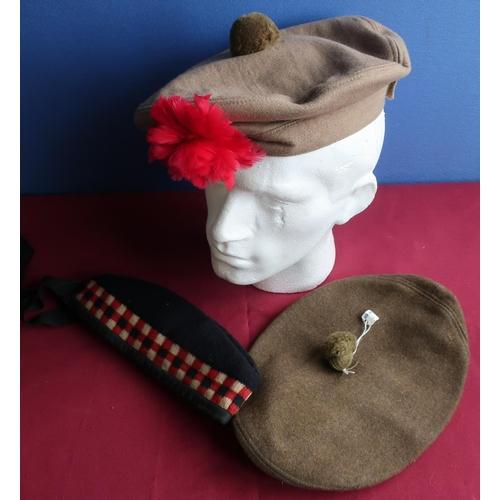 218 - Selection of various Scottish regimental headdress, including side cap, Tam o'shanter's etc, one wit...