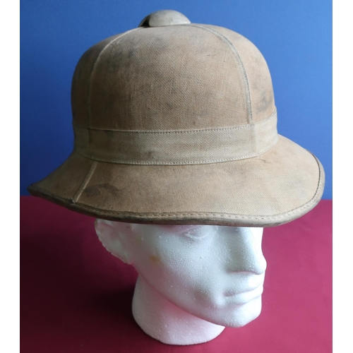 220 - British military issue c.WWII pith helmet, complete with leather liner and strap by Hobson & Son, Lo...