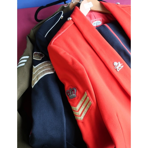 235 - Group of Royal Anglian British military uniforms for a colour sergeant including mess kit, number 1 ...