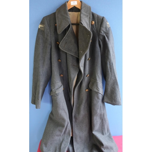 247 - c.WWII Royal Air Force overcoat with shoulder flashes and crowned brass buttons...