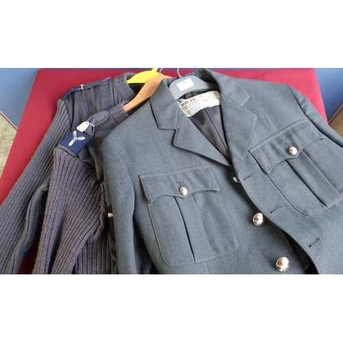 250 - Royal Air Force no.1 dress jacket with arm flashes an two air force woolly pully jumpers (3)...
