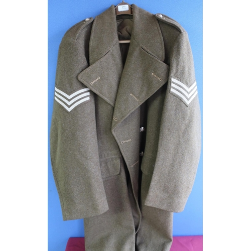 255 - Army Sergeant's 1951 pattern great coat, size 9 by Prices Tailors 1953...