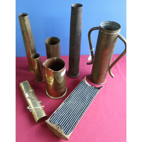 264 - Collection of trench art and shell casings, including vases, jugs, etc 18pr 1916 case converted to a...