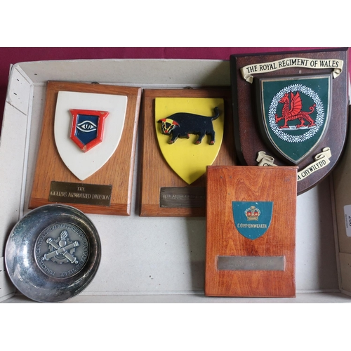 266 - Small selection of regimental plaques, armoured division plaques etc, including a French military wh...