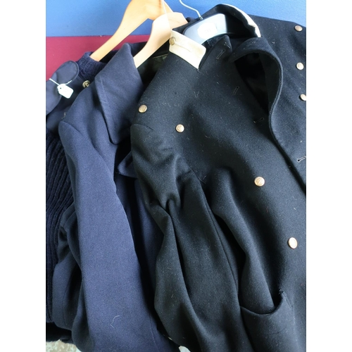 281 - Royal Navy great coat, woolly pully jumper and another naval seamans jacket with anchor and three st...