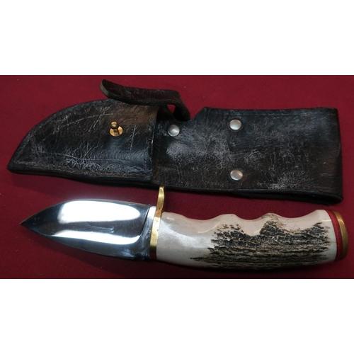 369 - Bear USA 3.5 inch broad bladed sheath knife with Sambar horn & brass mounted grip and leather sheath...