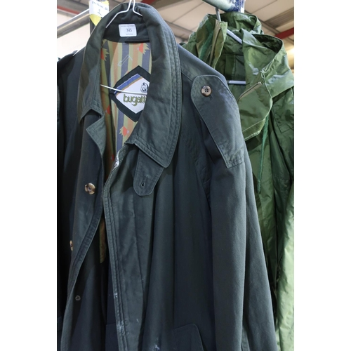 345 - Bugatti overcoat and a military style green waterproof jacket (2)...
