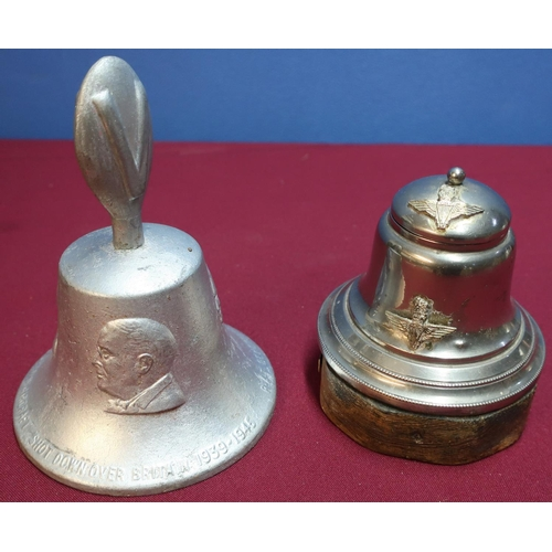 349 - Churchill victory bell and a silver plated parachute regimental inkwell (2)...