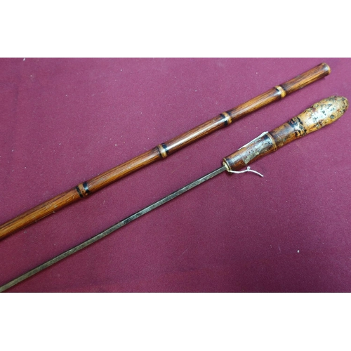 356 - 19th/20th C bamboo style sword cane with 13 1/2 inch square formed blade...