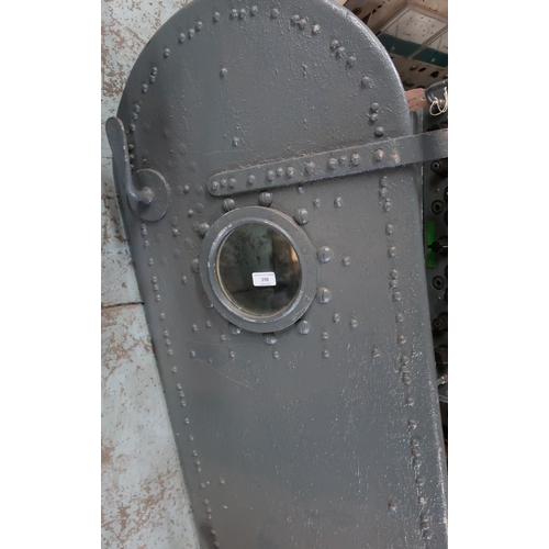 398 - Internal ships/submarine hinged door with port hole viewing glass (134cm x 50cm)...