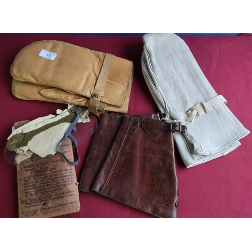 405 - Pair of white leather military style mitts, another tan leather pair of mitts, cased pair of eye shi...
