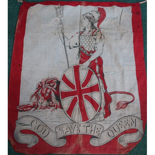 165b - Victorian banner (75 x 87 cm) silk screen printed onto cotton/linen 'God save the Queen' with Britan...