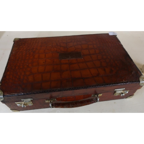 10 - c.1920's crocodile skin attache case by J. C. Vickery  Regent Street, the case with fully fitted int...