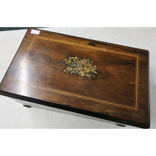 11 - 19th C rosewood inlaid cased musical table box with wind up cylinder movement and internal French pa...