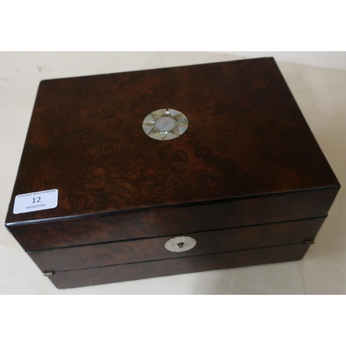 12 - Victorian walnut combination work box and writing slope with hinged lift up lid, lift out fitted tra...