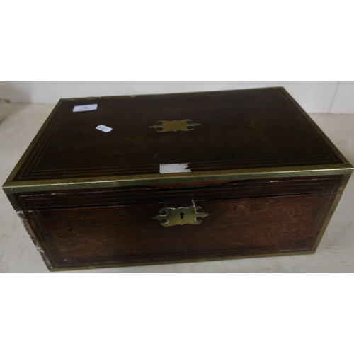 16 - 19th C rosewood brass inlaid travelling writing box with fitted interior and inset brass handles (40...