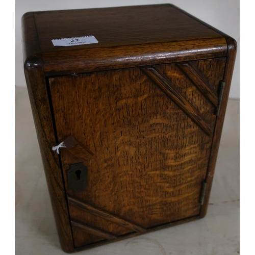 22 - Small Art Deco oak table top smokers type cabinet with hinged door and fitted interior (20cm x 15cm ...