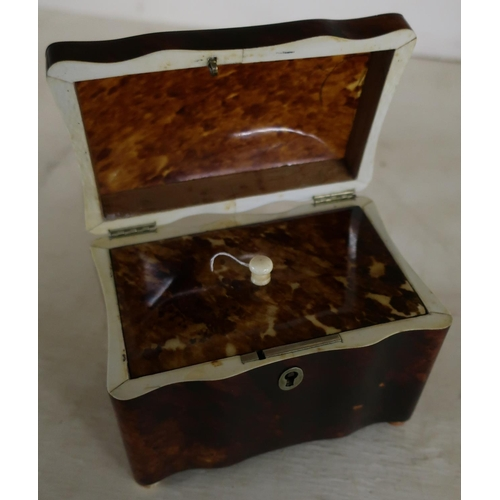26 - Early 19th C tortoiseshell tea caddy, with hinged lid and lift out inner cover, with turned ivory fi...