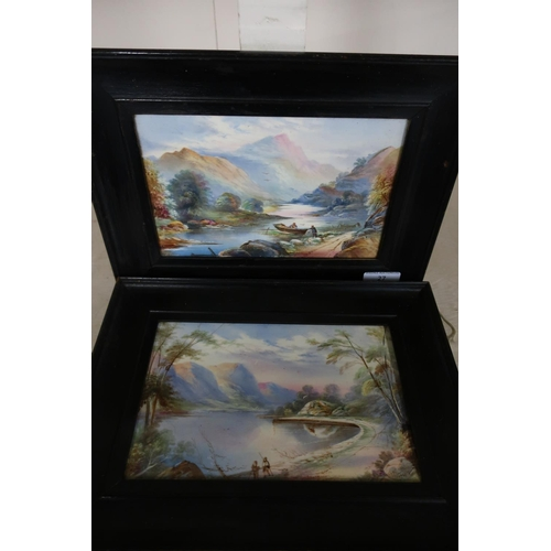 27 - Pair of framed oil on porcelain plaques depicting mountainous landscape scenes, faintly signed lower...