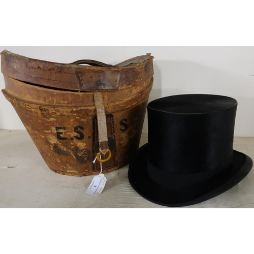 3 - Victorian top hat by Tress & Co London, Sydney and Calcutta (height 16cm), with leather travelling b...