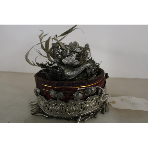33 - Unusual 19th/20th C Chinese wedding hat.  White metal bird nest detail and embossed panel to the fro...