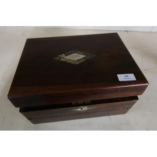 44 - Victorian rosewood Mother of Pearl inlaid combination work box/writing slope with hinged lift up top...
