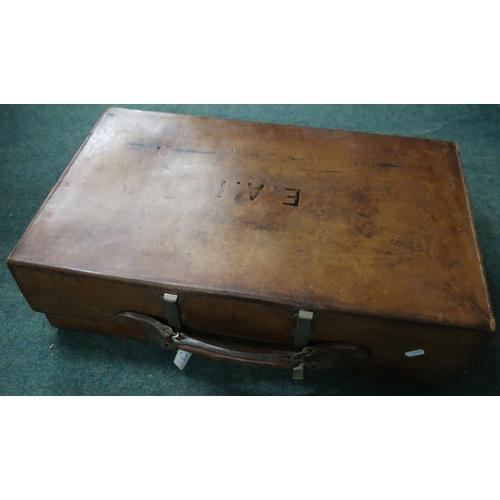6 - Vintage tan leather Revelation suitcase...