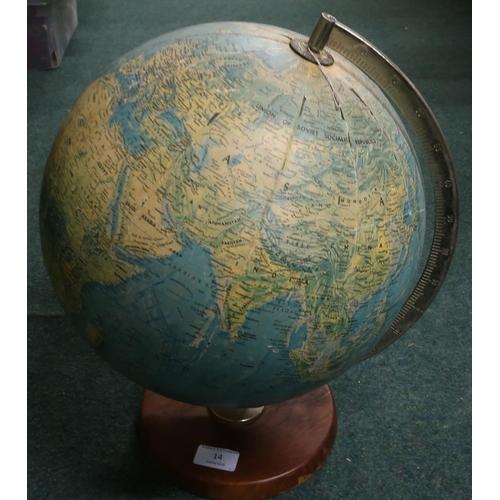 14 - c.1960s/70s desk globe (approx height 40cm)...