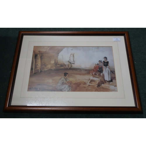 25 - Framed and mounted Russell Flint print with WRF blind stamp (62cm x 45cm including frame)...