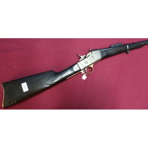 69 - Remington Rolling Block Carbine Rifle with 24 1/5 inch barrel, fixed fore sight and half stocked wit...