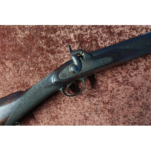 70 - Thomas Turner percussion cap smooth bore rifle (bored out for sleeving), with 33 inch two banded bar...
