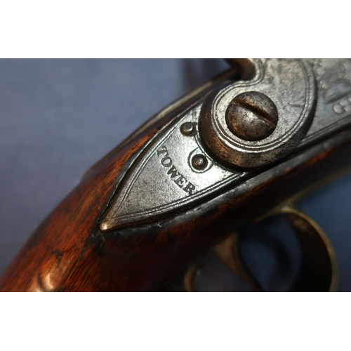 3 - British flintlock Dragoons pistol, with 9 inch barrel with worn proof marks and engraved 21LDS, the ...