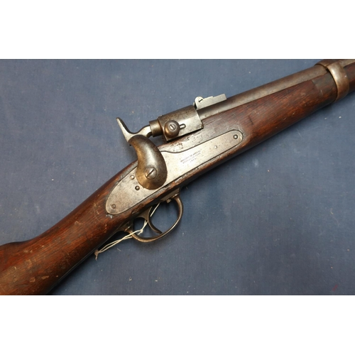 246 - American Joslyn .56 Civil War period carbine with 21 inch barrel with rear adjustable leaf sights an...