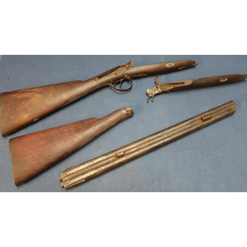 250 - Various parts for a 19th C percussion cap sporting gun including 21 1/4 inch barrels, stock forend, ...