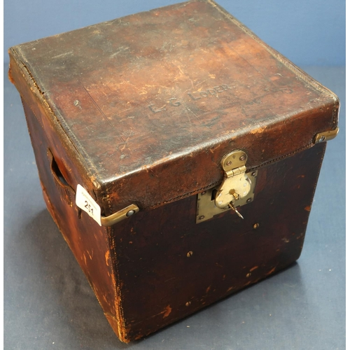 251 - Circa 1900 leather shotgun cartridge type case of square form, the top marked E. G. LODER, with bras...