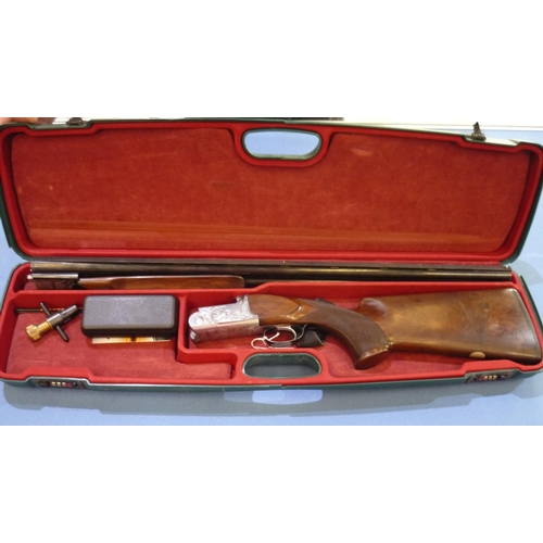 677 - Cased John MacNab Claymore 12 bore over & Under ejector shotgun with 29 1/2inch barrels with raised ...