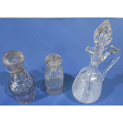 120 - Early 19th C glass decanter of square form, another 19th C glass decanter and a 20th C quality cut g...
