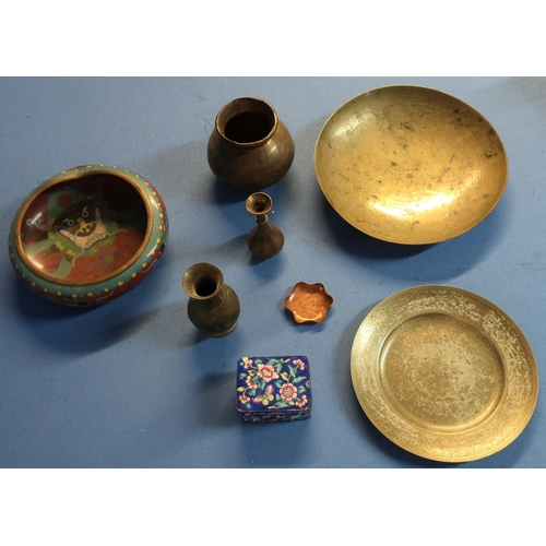 124 - Chinese Cloisonne ware bowl, eastern brass ware box and a rectangular enamel box with lift-up top (c...