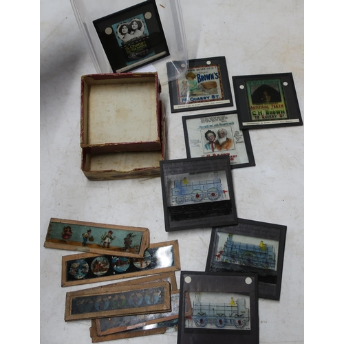128 - Selection of various Magic Lantern type slides including a set of four advertising slides for C H Br...
