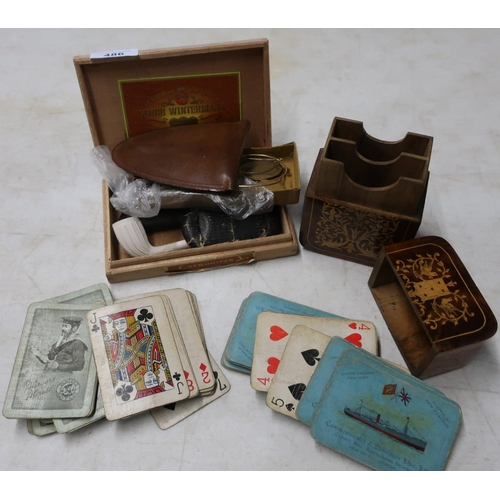 129 - Cigar box containing clay pipe, various spectacles, a leather cased folding leather travel cup, an i...