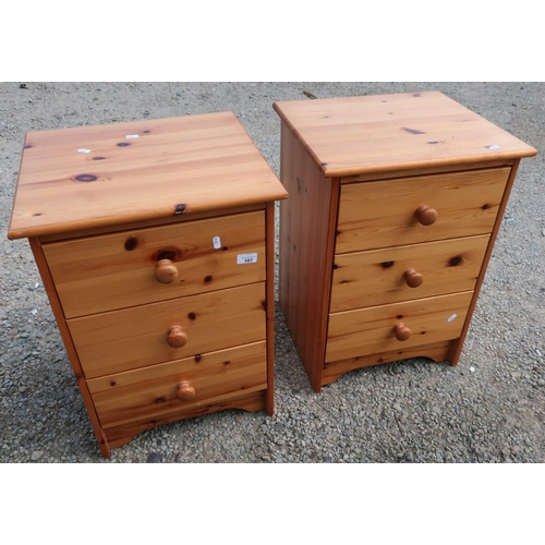 107 - Pair of modern three drawer pine bedside chests...