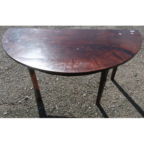 111 - 19th C mahogany D shaped table on four supports (141cm x 69cm x 70cm)...