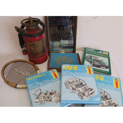 47 - Vintage tennis racket, reproduction French advertising mirror, various Haynes car service manuals, s...