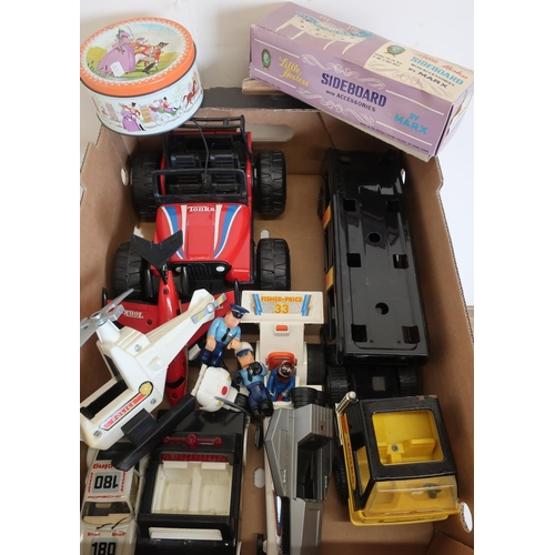 54 - Selection of Tonka and other toy vehicles, a boxed Little Hostess sideboard with accessories by Mark...