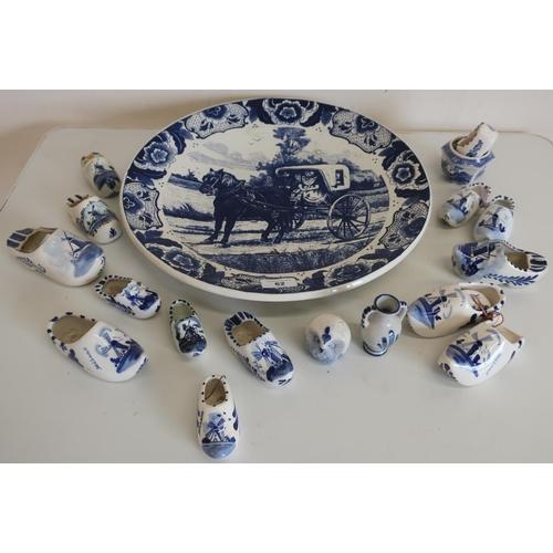 62 - Large blue & white delft type charger, various Dutch ceramic clogs etc...
