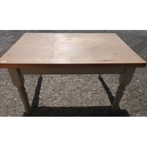 67 - Rectangular farmhouse style table with pine scrub top and painted base, on turned supports (137cm x ...
