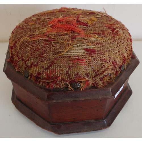 68 - 19th C oak footstool with wool-work upholstered top, on three white ceramic bun feet (27cm x 27cm x ...
